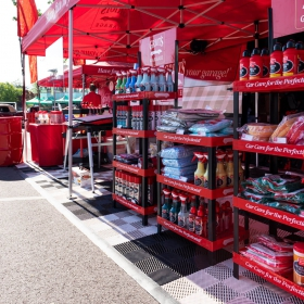 Car Care Booth Display with Free-Flow Flooring