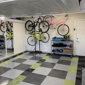 RaceDeck TuffShield and Free-Flow flooring in garage with bicycles