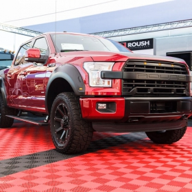A Roush F 150 car show display