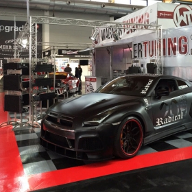 RaceDecl XL garage flooring tiles used for this car show display.