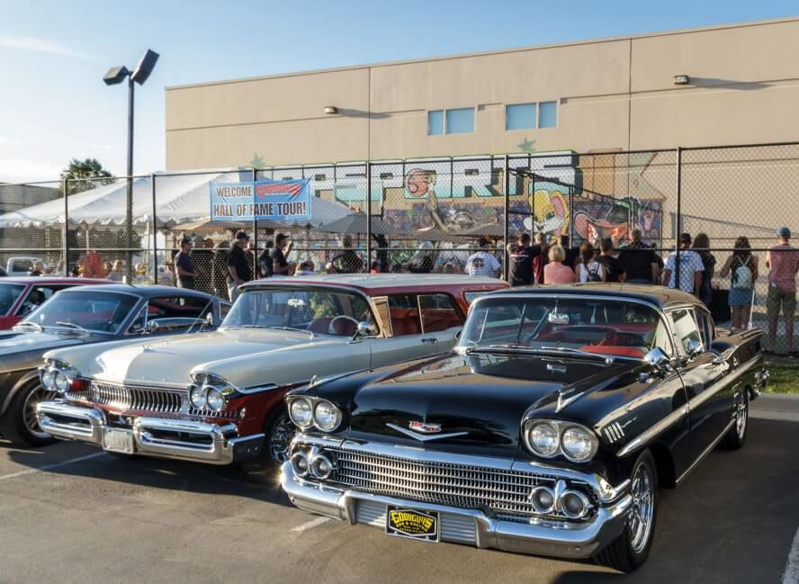 The Goodguys Hall of Fame Tour gathers at RaceDeck's manufacturing facility.