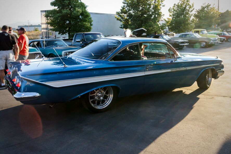 RaceDeck's parking lot quickly becomes a collection of striking classic cars from the road tour.