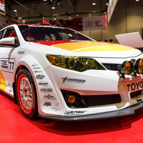 Red RaceDeck Diamond sets the stage for this decked out Toyota racecar