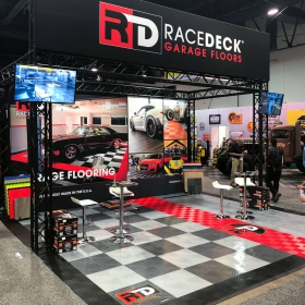 The RaceDeck booth at SEMA 2018