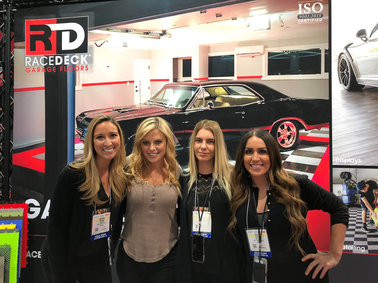 The RaceDeck ladies and Cristy Lee at the SEMA booth