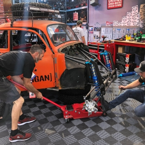 Working on their latest project at the Hoonigan SEMA booth