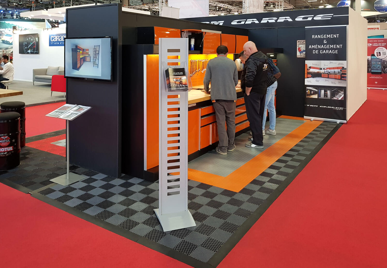 Another view of the garage floor tile display at Mondial Paris.