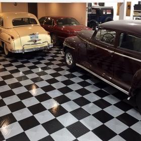 Classic cars on a TuffShield Diamond garage floor