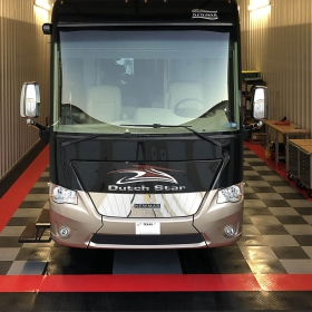 RaceDeck Diamond checkered garage for this motor home.