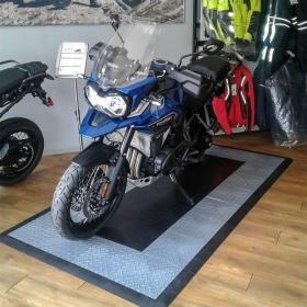 Motorcycle floor tile parking pad retail display with RaceDeck Diamond