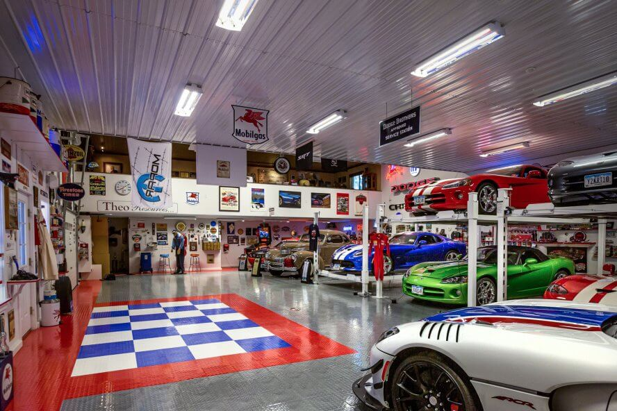 Ted Pacha - View of the car collection and themed garage