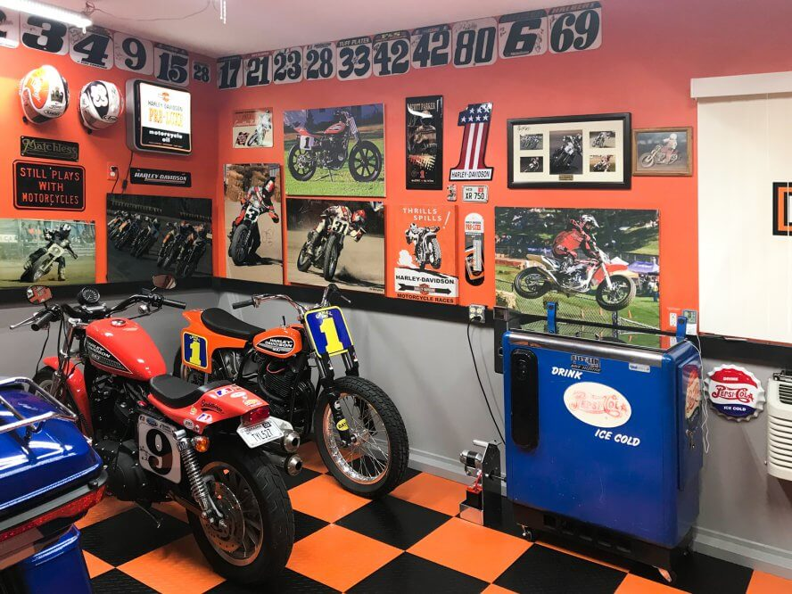 Floyd Paul - Flat track racing themed garage and Harleys