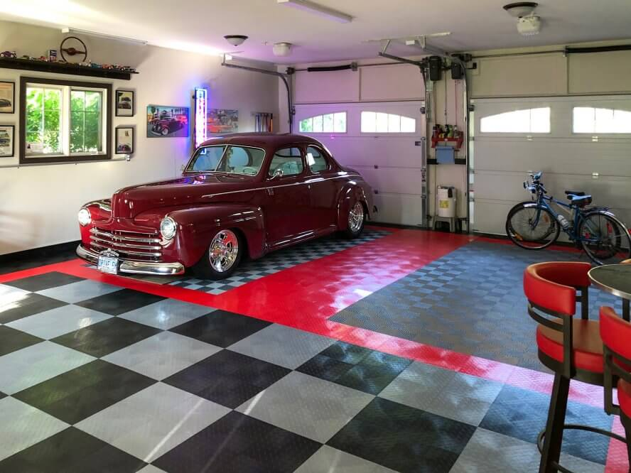 Jim and Janet McAllister - Multi-function garage and social area with 1947 Ford coupe