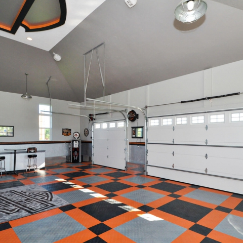 Harley-Davidson themed garage