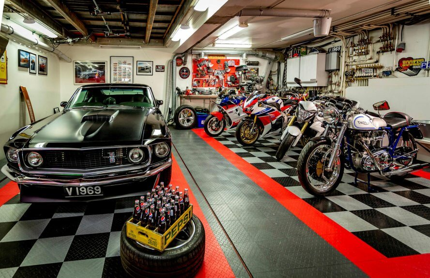 Ford Mustang and the motorcycle collection in the lower garage