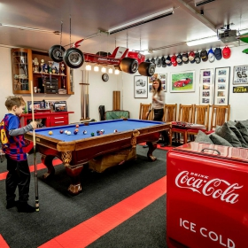 Pool table area in this multi-use garage