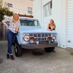 Kerry Moller and her new 1969 Bronco at the Mark restaurant in Olympia Washington.