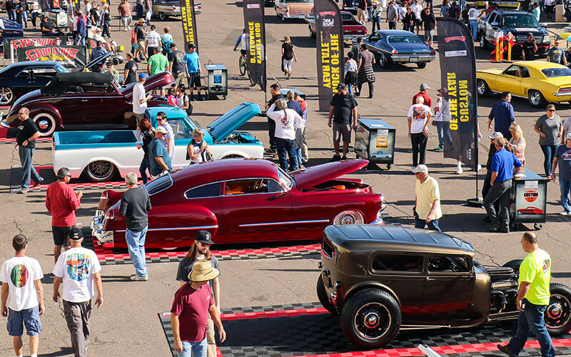 Cars at a Goodguys car show parked on RaceDeck Garage Floor tiles