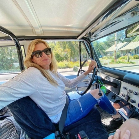 Kerry Moller of RaceDeck taking a 1969 Ford Bronco for a test drive.