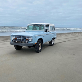 A Bronco on a Beach in Washington.