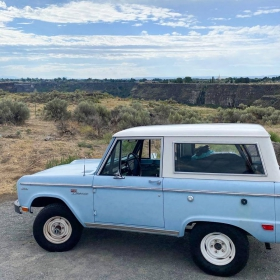Sky blue Bronco at the Evel Knievel Snake River Jump site
