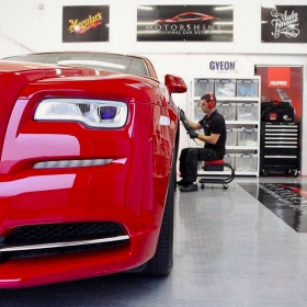 Rolls Royce at a detailer with RaceDeck Tuffshield flooring