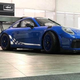 Blue Porsche on Smoked Oak at SEMA