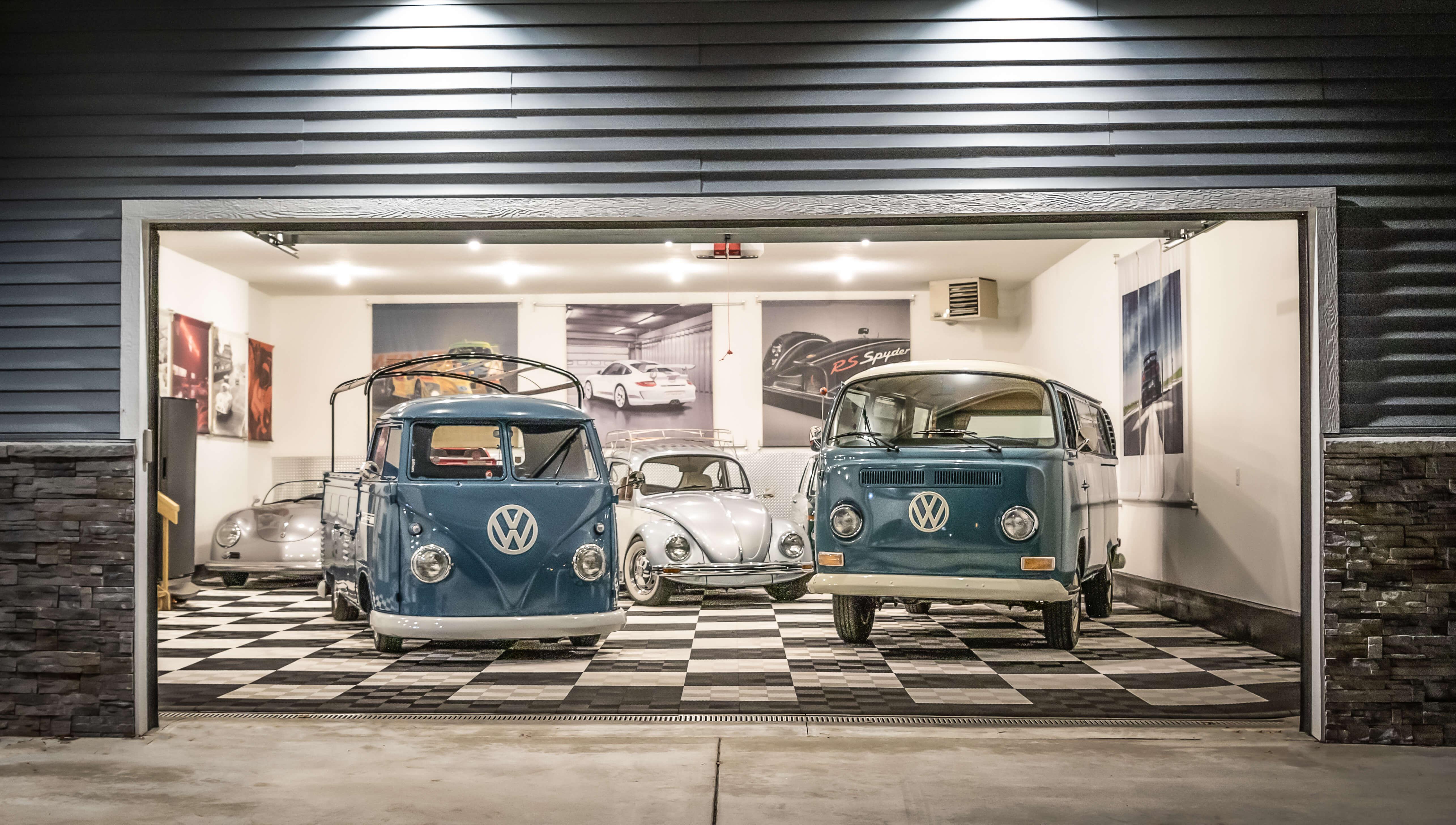 Garage floor ideas: Aaron Reitman's garage with Volkswagens and car collection