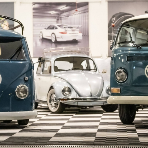 Volkswagen collection in Reitman's garage