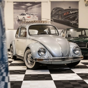 View of the VW Beetle and the vintage BMW