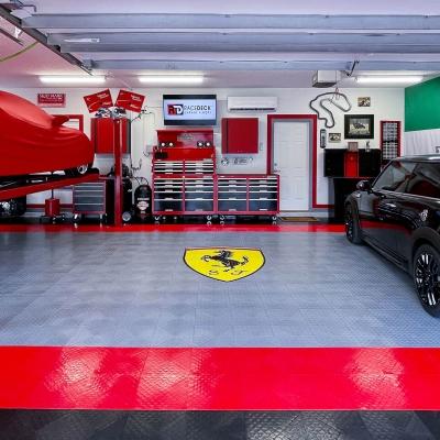 Allen and Sasha Crisp's Garage with Ferrari Logo