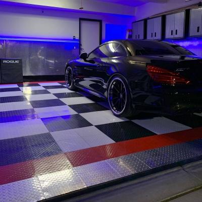 Robert Stewart's Garage with Blue Lights