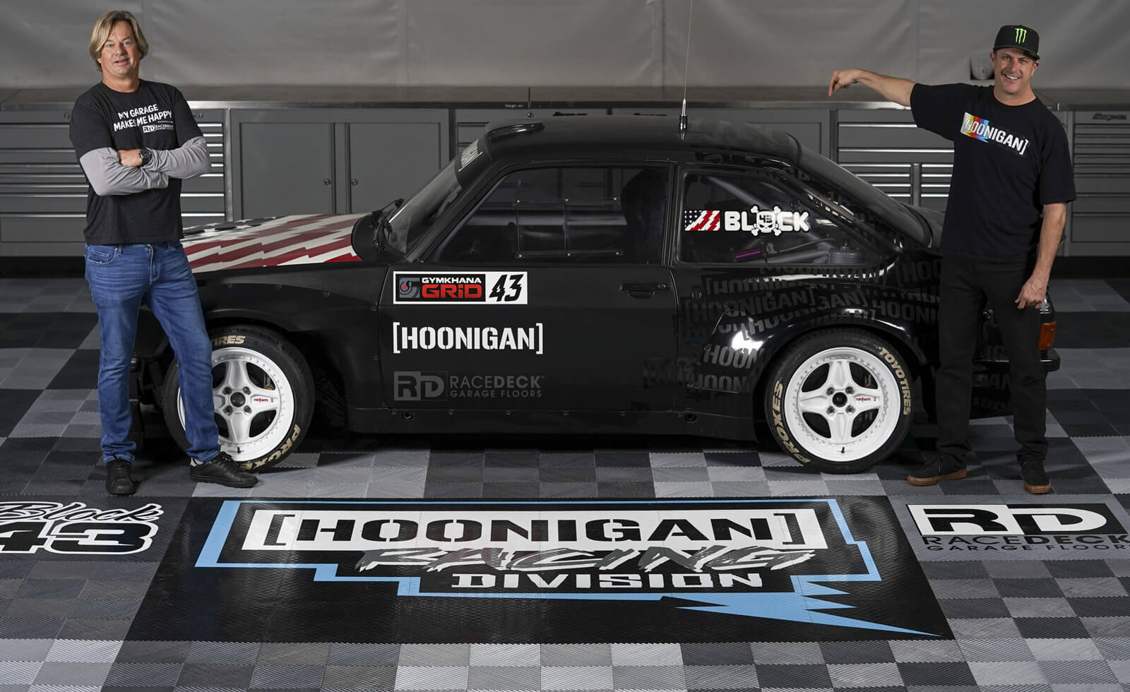 Jorgen and Ken Block at the Hoonigan Racing Division with the Ford Escort MK2
